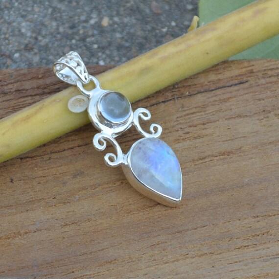Blue Rainbow Moonstone, Blue Topaz Pendant Bezel set in Fine Silver, AAA Blue topaz, AAA moonstone, AAA Blue Flash Moonstone Pendant