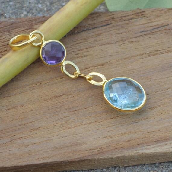 Natural Blue Topaz Pendant ,  Solid Sterling Silver Gold Overlay Purple Amethyst, Topaz Pendant, Gift Pendant, Sterling Silver Jewelry