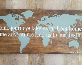 World Map Large Wooden Custom sign