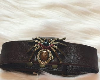 Medium Brown Leather Spider Choker Style Collar