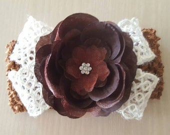 Brown Headband, Flower Headband, Baby Headband, Crochet Headband, Girl Headband, Newborn Headband, Baby Hair Bows, Christmas Gifts