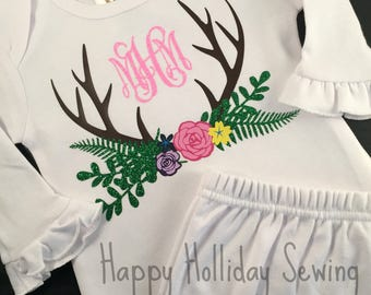 Monogrammed Antlers with Flowers Baby Gown