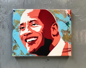 "Dwayne ""The Rock"" Johnson Painting on Stretched Canvas - pre made and ready to ship - pictures show actual item you are purchasing."