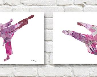 Set of 2 Karate Girl Art Prints - Watercolor Painting - Wall Decor