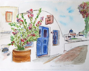 FLOWERS OF OIA / Santorini / watercolor original single / Islands Greek / travel-2012-13.7 by 9.8 in