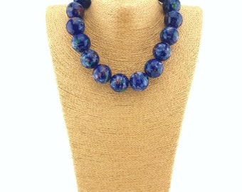 Blue ceramic bobble necklace