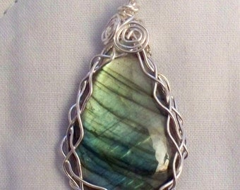 Wire wrapped Labradorite Pendant -  Made in Vt.