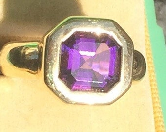 Beautiful Amethyst in 14k Gold Bevel setting size 5