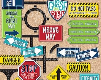 PRCA17 - 2017 Primary Theme Clip Art set - Road Signs Shield Roads