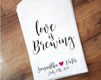 Love is Brewing Wedding Favor Bag, Coffee FavorBags, Personalized Favor Bags, Rustic Wedding Candy Bar Bags, Custom Wedding Favors