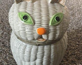Vintage Cat Motif Cookie Jar