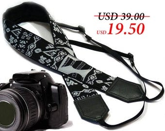 InTePro Aztec camera strap. Black and grey Camera strap.  DSLR / SLR Camera Strap. Camera accessories.
