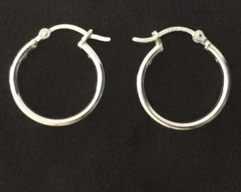 Pair of Real Pure Sterling Tube Hoop Earrings with a Hinged Clasp Fastening. Made from PURE Sterling Silver-NOT Silver Plated