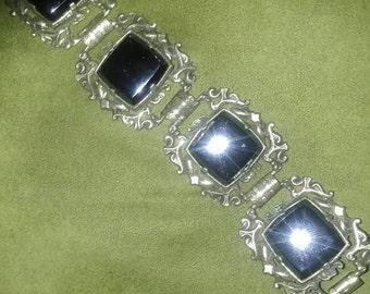 Bluish-Black Obsidian Panel Link Braclet