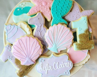 1 dozen sparkly under the sea mermaid cookies!