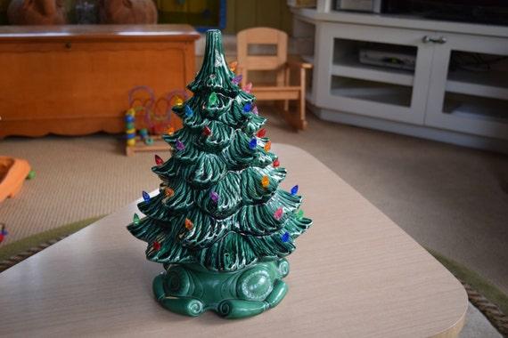 Vintage 17 Inch Green Ceramic Christmas Tree 2 Piece Atlantic