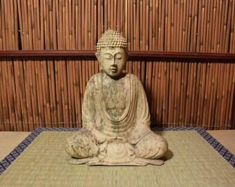 Vintage  Bali Wood Carved Shakyamuni Buddha Statue 8 Inches Tall Rustic