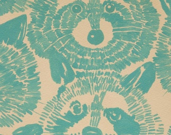Alexander Henry Rocky Raccoon Teal Cotton KNIT Fabric, many size options available
