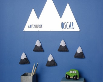 Mountain shaped personalised childs room mirror with felt snow capped mountains