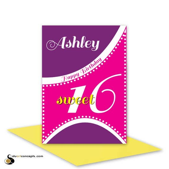 Sweet 16 birthday card for girl edit name 16th happy birthday – Birthday Card Message for Sister