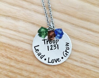 troop leader gift, scout leader gift, hand stamped gift, personalized troop leader necklace, scout necklace, counselor necklace