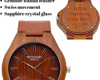 Handcrafted men's red sandalwood watch. Upgraded with sapphire glass, Swiss movement, and burgundy Italian leather. FREE custom engraving!