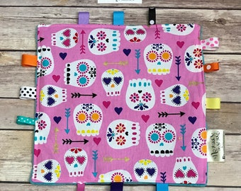 SUGAR SKULLS Sensory Soother! Day of the Dead Lovey. Teething Toy. Chew Toy. Ribbons. Minky. SPD. Sensory Tool. Teether. Crinkle Paper.