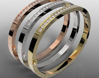 Exclusive 14k yellow gold, 14k rose gold and 14k white gold tri color bangle bracelets set with 3 carat natural white diamonds, BGL-1001