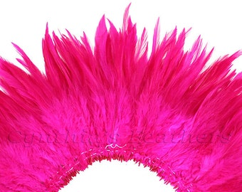 Wholesale 1/2 Yard, Strung Rooster Fuchsia Saddle Feathers (5-7 inches in length) for Crafting, Sewing, Wedding, Decoration SKU: 7A72