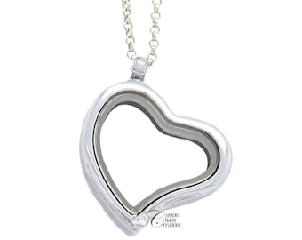Floating Locket * Heart * Magnetic * Memory Necklace  (Includes Chain)  - LOC13
