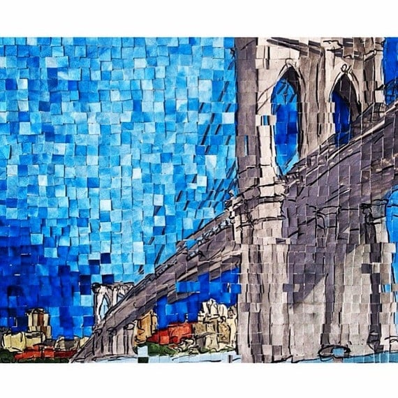"Brooklyn- New York City- Brooklyn Bridge- DUMBO Architectural Art 11""x14"" original painting"