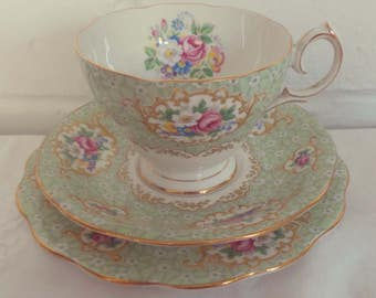Pretty Vintage English Bone China Queen Anne Gainsborough Floral Green Tea Set Trio for One. Perfect for a Tea Party, afternoon tea