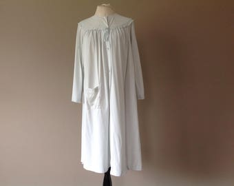 S / Nylon Housecoat Duster Robe by Shadowline / Vintage Loungewear / Small / FREE USA Shipping