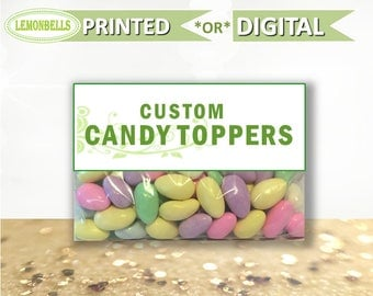 CUSTOM Candy Bag Toppers, Candy Party Favors, Candy Treat Bags
