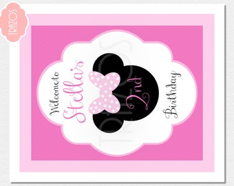 Minnie Welcome Sign - Minnie Mouse Birthday - Personalized Welcome Sign - Printable Sign