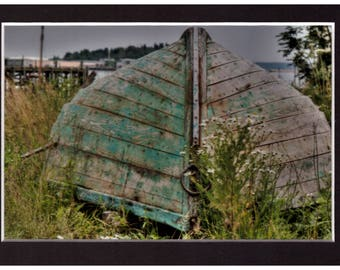 """Lunenburg Green Boat 4""""x6"""" Metallic Print in a 5""""x7"""" matt and ready for you to put in a frame"""