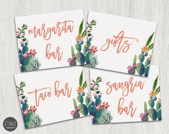 Fiesta Signage | Taco Bar, Margarita Bar, Sangria Bar and Gifts (8x10) | Instant Download