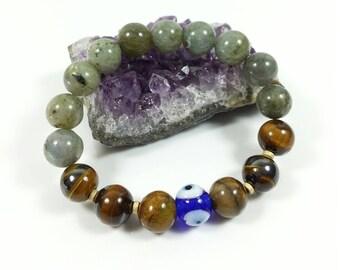 Labradorite & Tiger Eye Bracelet w/ 14k Gold Filled Beads,10mm, Evil Eye Bracelet, Her Gift,Aunt's Gift, Gift For Sister