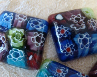 Fused Cane work glass SEW THROUGH buttons - set - boutons en verre