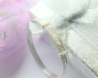 Sterling silver baby bangle Christening  Birthday Baptism gift boys or girls in Gift pouch or Gift box baby bracelet side hinges