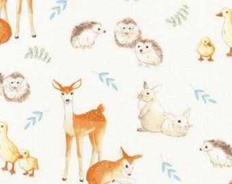 Woodland Animal Baby Quilt Fabric, Robert Kaufman Fawns & Friends 16671 14, World Art Group, Fawn, Bunnies, Foxes, Hedgehogs, Ducks, Cotton
