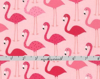 Pink Flamingo Fabric, Ann Kelle, Robert Kaufman 14719 10 Pink, Urban Zoologie, Flamingo Quilt Fabric, Polka Dots, Cotton