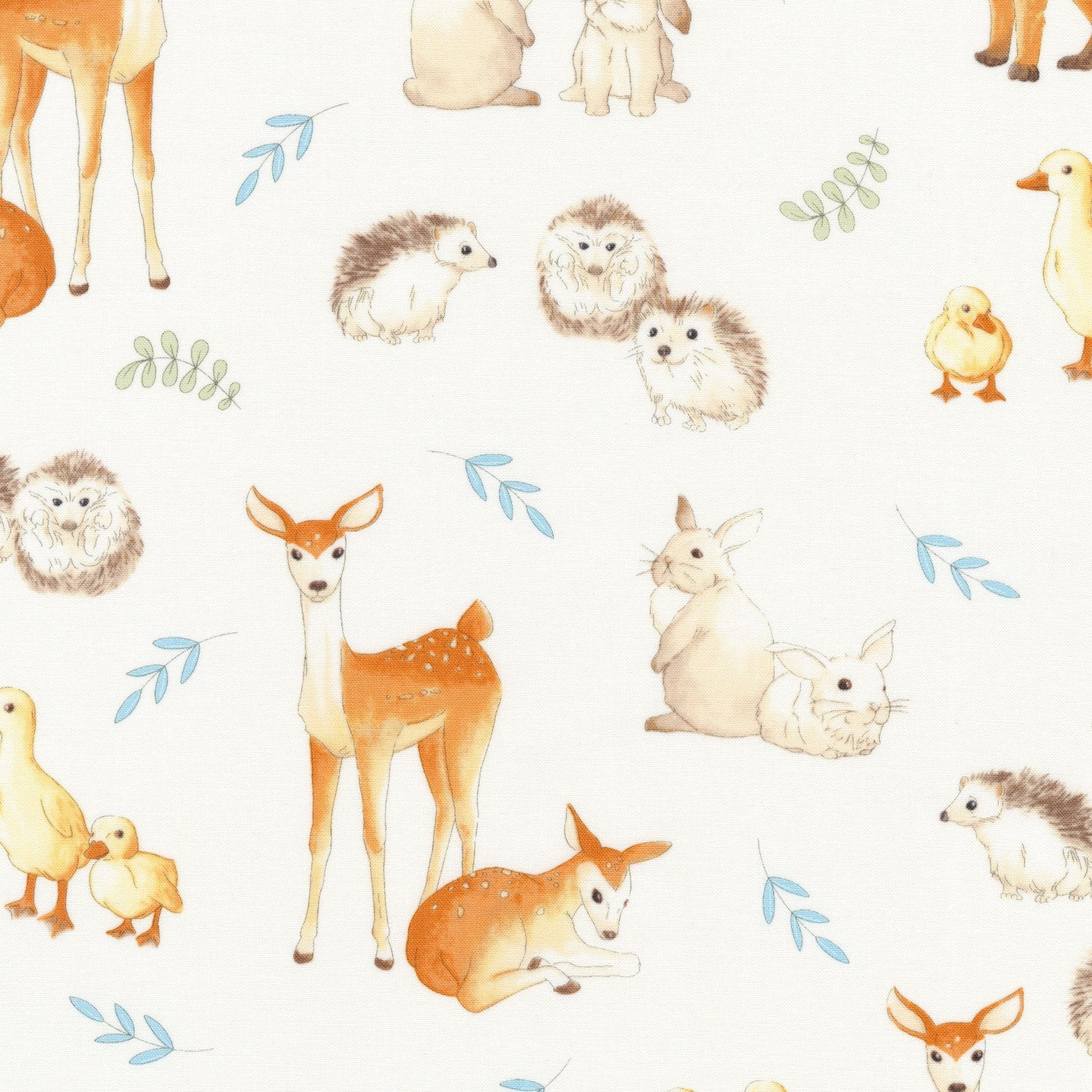Woodland Animal Baby Quilt Fabric Robert Kaufman Fawns