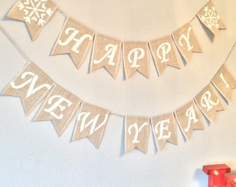 Happy New Year New Years Eve Party Vintage Bunting Banner. Hessian Burlap Rustic