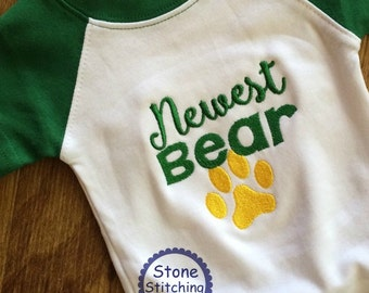 Bears Bodysuit, Bears baby gift, Green & gold baby gift, newest bear