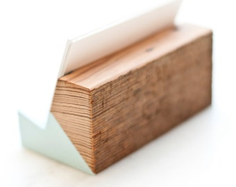 Raw Back Reclaimed Wood Business Card Holder