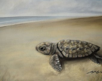 Turtle Art *Print, turtle, turtle hatchling art, pastel artwork, drawing, original art, beach, sand, sea, sky, animal, nature, art, turtle