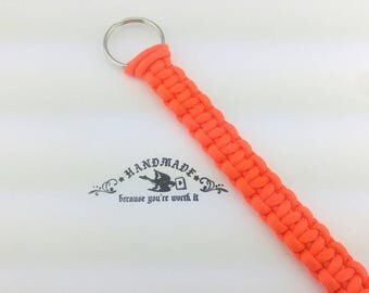 """Orange Air Horn Pull Cord, Custom Paracord Lanyard, 8"""" - 22"""" Air Horn Pull Cord, Handmade, Paracord Key Chain, Lanyard, Gifts for Truckers."""