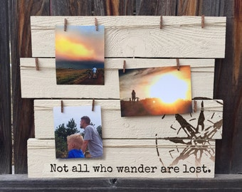 Clothespin Photo Hanger, Photo Display, Travel Board, Not All Who Wander Are Lost, Picture Display Board