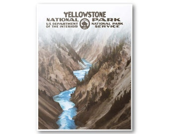 Yellowstone National Park Travel Poster (Canyon)